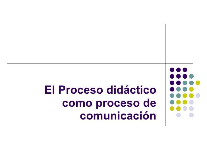 El Proceso didáctico como proceso de comunicación
