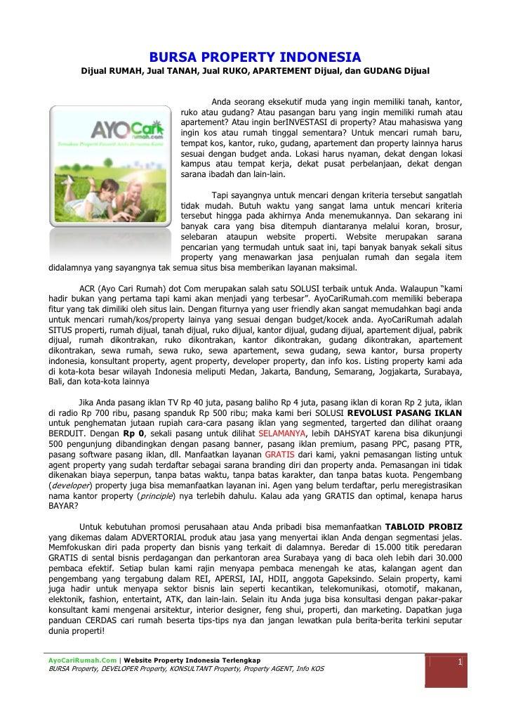 BURSA PROPERTY INDONESIA         Dijual RUMAH, Jual TANAH, Jual RUKO, APARTEMENT Dijual, dan GUDANG Dijual                ...