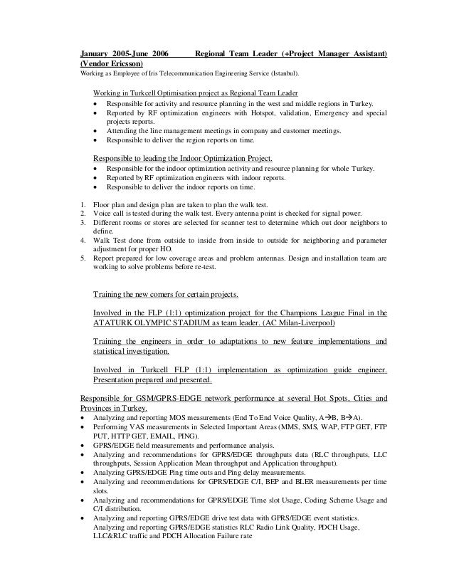 project team leader resume images