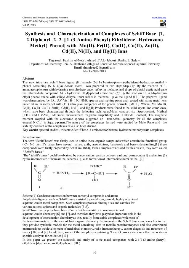 Chemical and Process Engineering Research www.iiste.org ISSN 2224-7467 (Paper) ISSN 2225-0913 (Online) Vol.13, 2013 19 Syn...