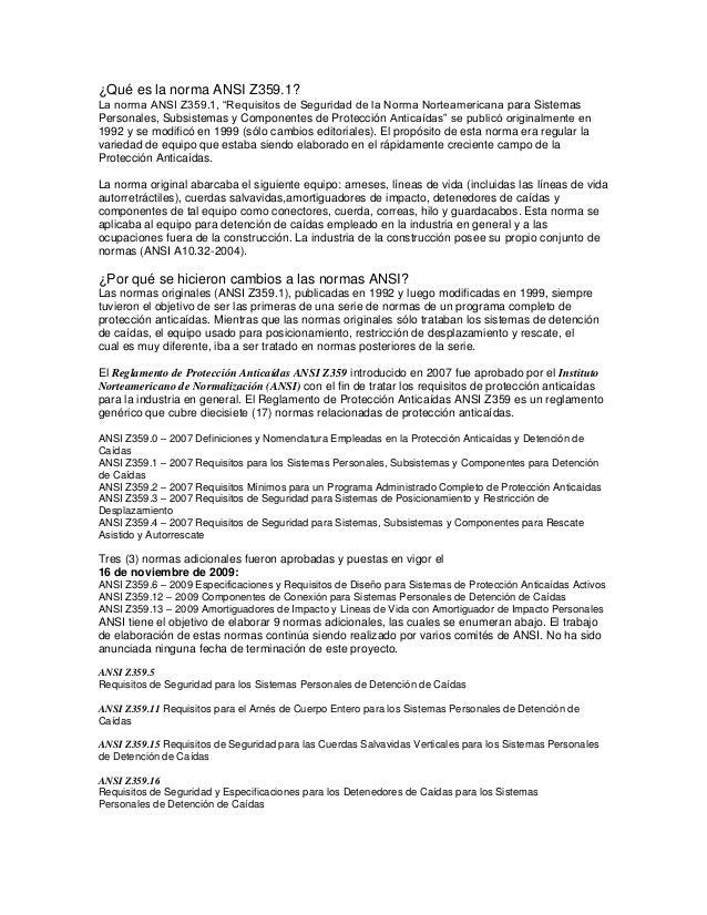 """¿Qué es la norma ANSI Z359.1? La norma ANSI Z359.1, """"Requisitos de Seguridad de la Norma Norteamericana para Sistemas Pers..."""