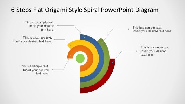 6 steps flat origami style spiral powerpoint diagram