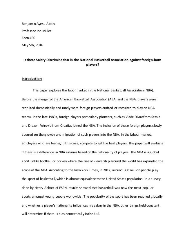 a reaction paper on social stratification article on national basketball association Instructions: use data from all through the course to finish the next writing project you should use the course textbook for this project, course energy factors, or movies and di.