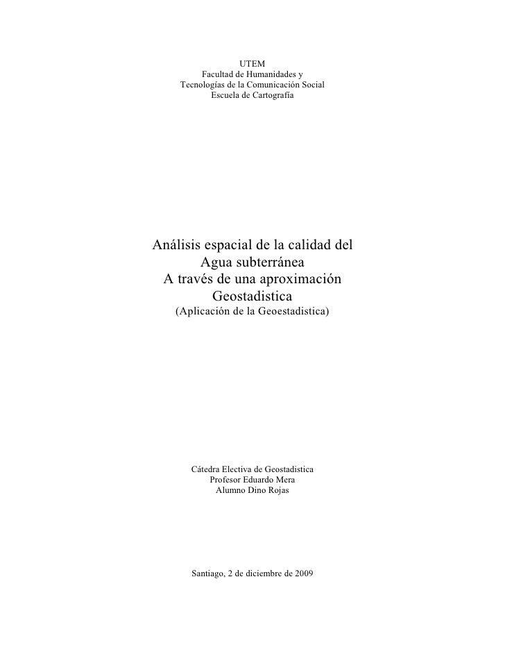 GEOESTADISTICA APLICADA - HIDROGEOLOGIA