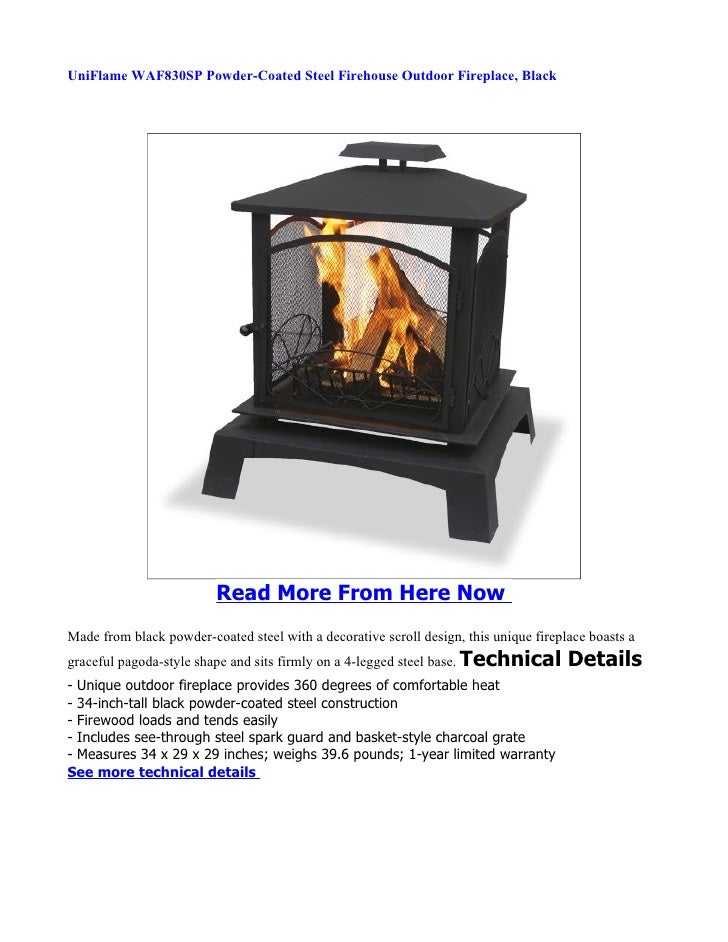 Uniflame Waf830sp Powder Coated Steel Firehouse Outdoor Fireplace