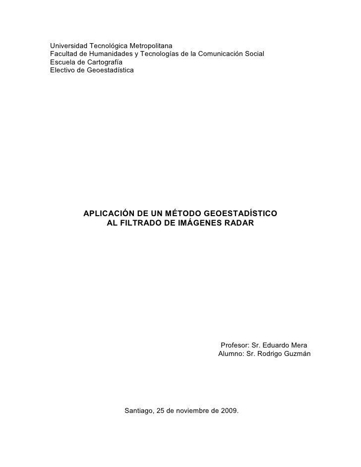 GEOESTATIDISTICA Y FILTRAJE DE RADAR