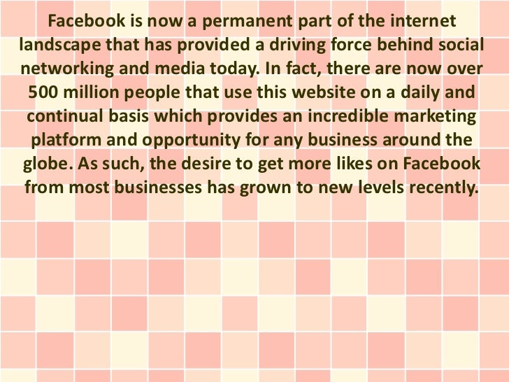 Facebook is now a permanent part of the internetlandscape that has provided a driving force behind socialnetworking and me...