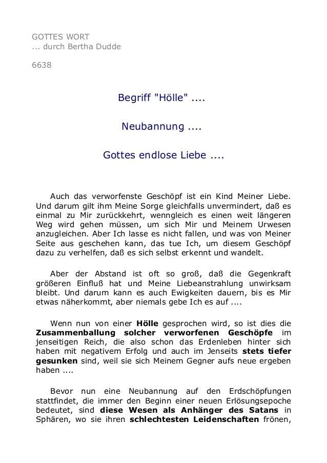 """GOTTES WORT  ... durch Bertha Dudde  6638  Begriff """"Hölle"""" ....  Neubannung ....  Gottes endlose Liebe ....  Auch das verw..."""