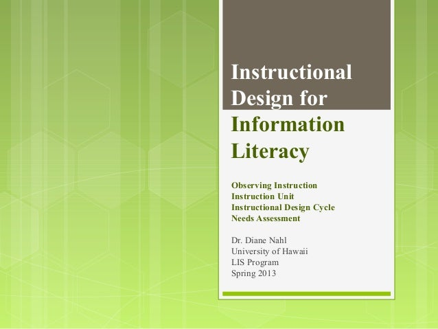 InstructionalDesign forInformationLiteracyObserving InstructionInstruction UnitInstructional Design CycleNeeds AssessmentD...