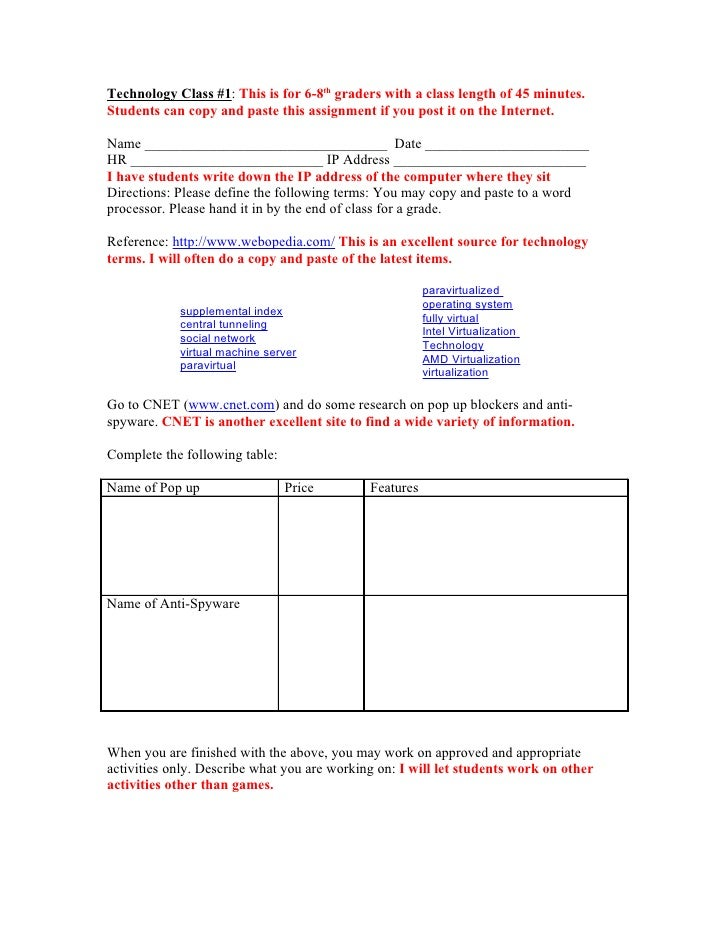 Technology Class #1: This is for 6-8th graders with a class length of 45 minutes. Students can copy and paste this assignm...