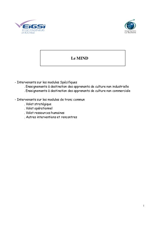 1 Le MIND - Intervenants sur les modules Spécifiques . Enseignements à destination des apprenants de culture non industrie...