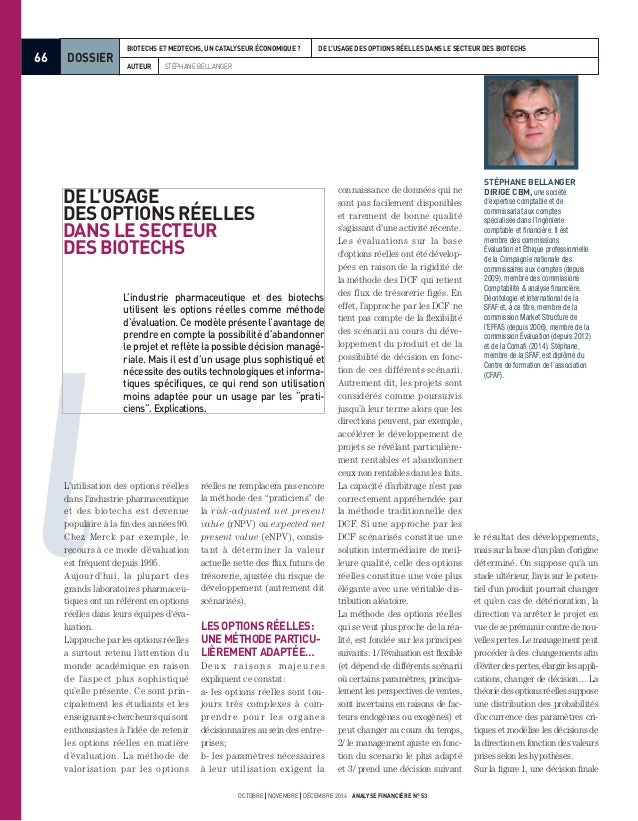 66 octobre novembre décembre 2014 analyse financière n° 53 DOSSIER auteur Stéphane Bellanger  Biotechs et Medtechs, un ca...