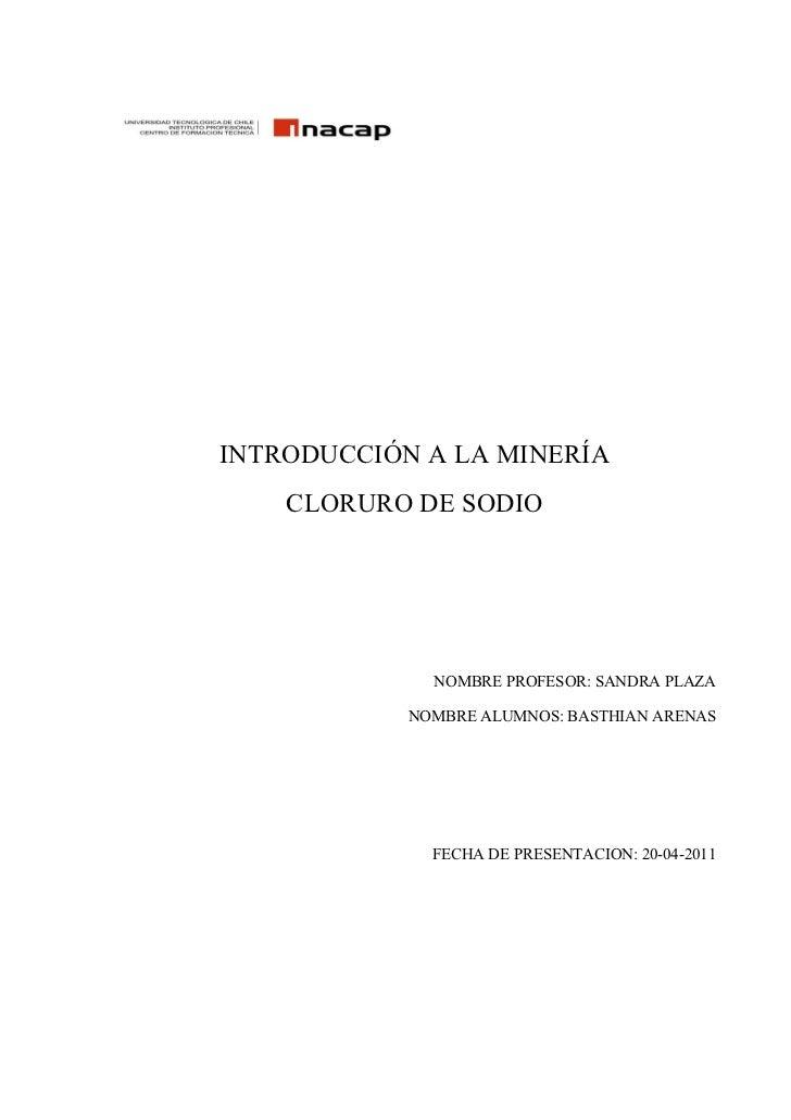 INTRODUCCIÓN A LA MINERÍA    CLORURO DE SODIO              NOMBRE PROFESOR: SANDRA PLAZA            NOMBRE ALUMNOS: BASTHI...