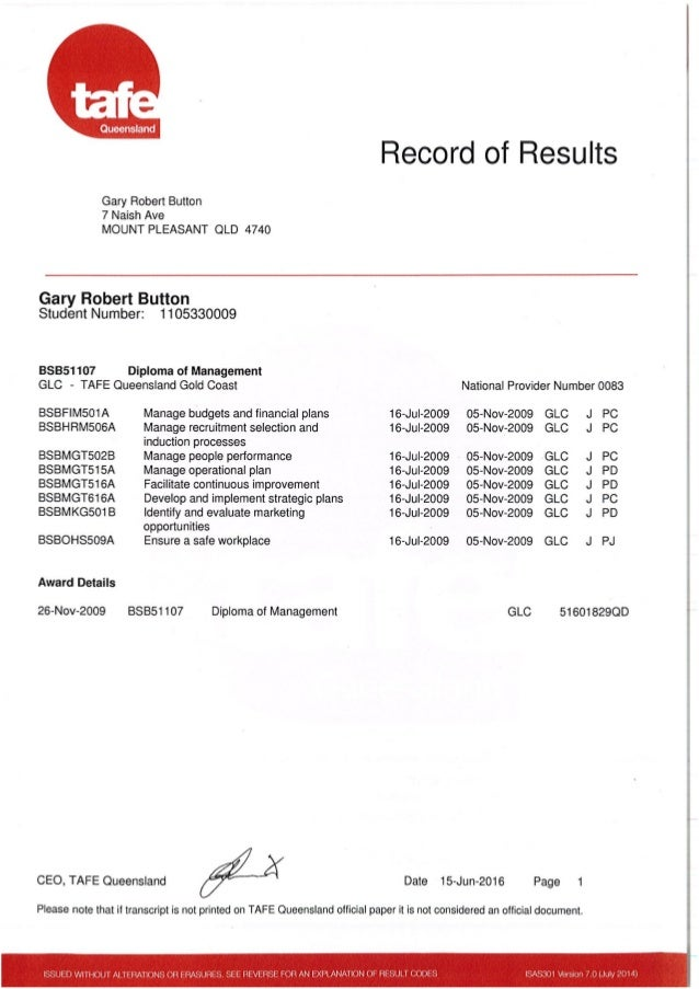 Diploma management results