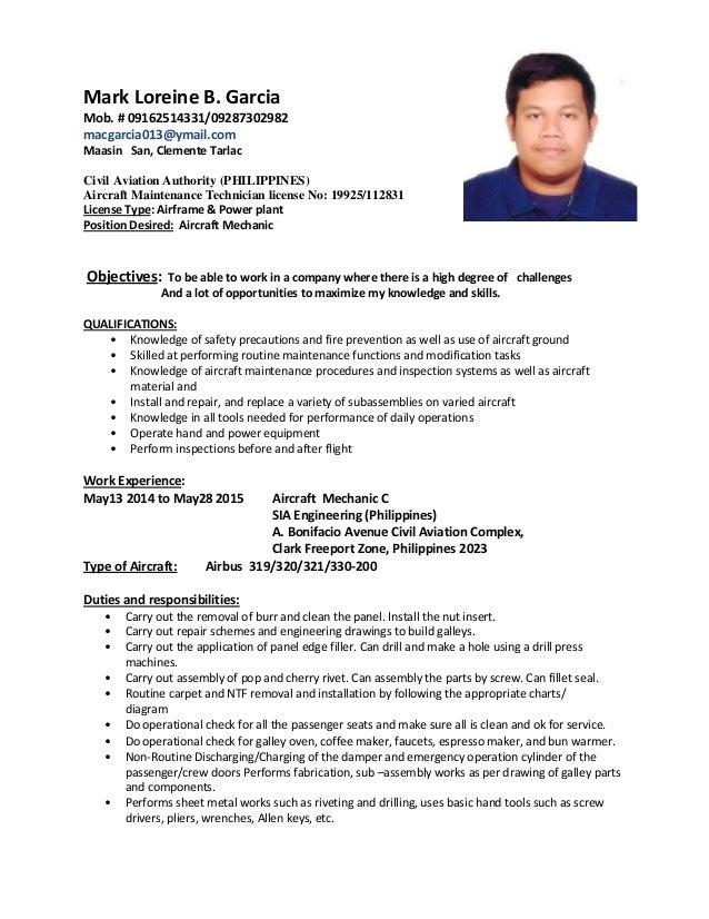 sample aircraft mechanic resume aircraft mechanic resume