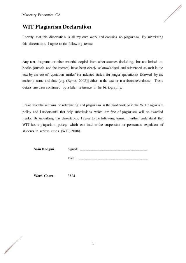 Dissertation plagiarism statement