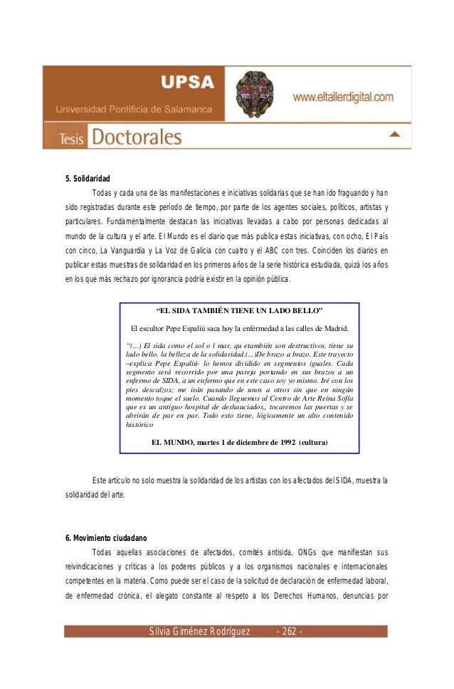 Silvia Giménez Rodríguez - 262 - 5. Solidaridad Todas y cada una de las manifestaciones e iniciativas solidarias que se ha...