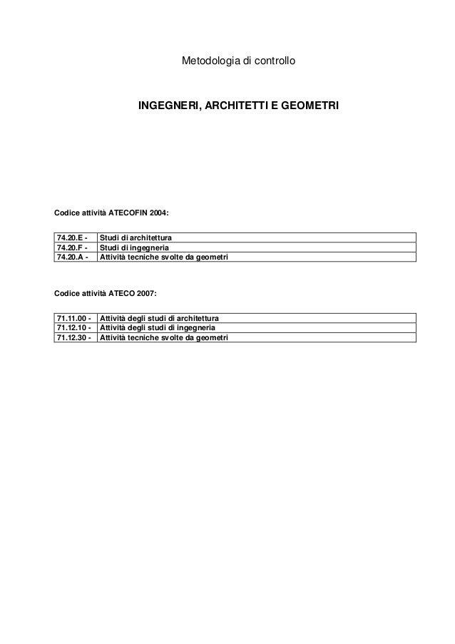 Metodologia di controllo                       INGEGNERI, ARCHITETTI E GEOMETRICodice attività ATECOFIN 2004:74.20.E -    ...