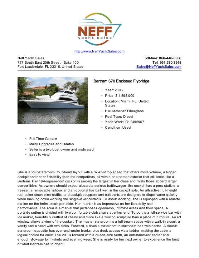 67' 2003 bertram 670 enclosed flybridge for sale   neff yacht sales - inactive