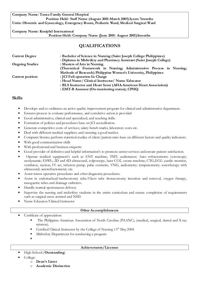 Ward nurse resume
