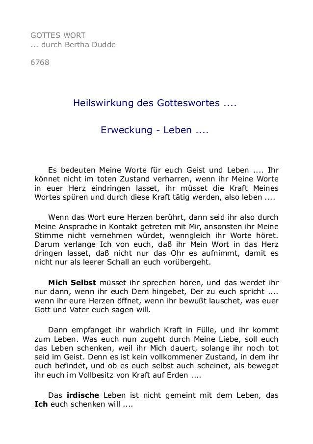 GOTTES WORT  ... durch Bertha Dudde  6768  Heilswirkung des Gotteswortes ....  Erweckung - Leben ....  Es bedeuten Meine W...