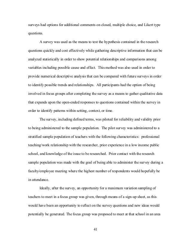 Dissertation recreation survey