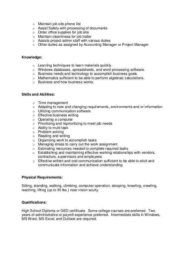 Job Site Admin Assistant Ft Job Description Temp