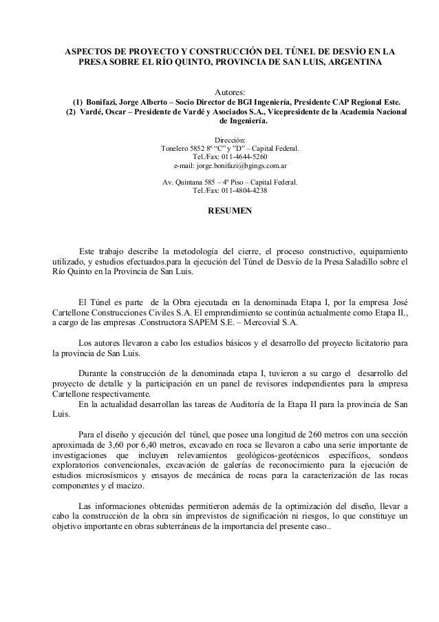 ASPECTOS DE PROYECTO Y CONSTRUCCIÓN DEL TÚNEL DE DESVÍO EN LA PRESA SOBRE EL RÍO QUINTO, PROVINCIA DE SAN LUIS, ARGENTINA ...