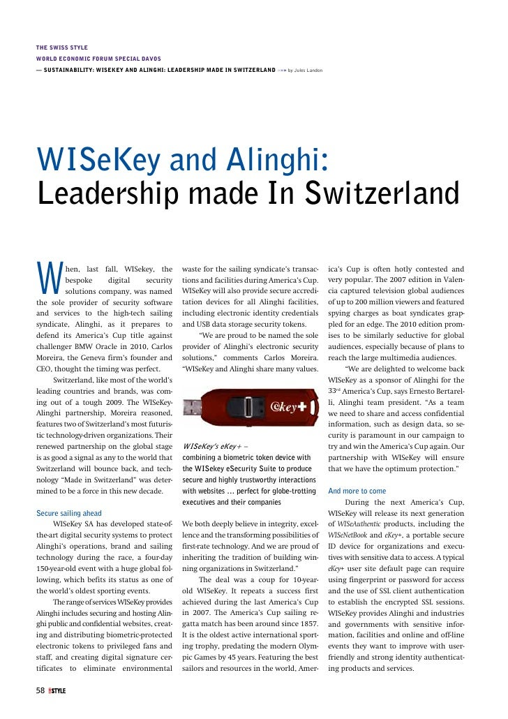 THE SWISS STYLE WORLD ECONOMIC FORUM SPECIAL DAVOS — SUSTAINABILITY: WISEKEY AND ALINGHI: LEADERSHIP MADE IN SWITZERLAND »...