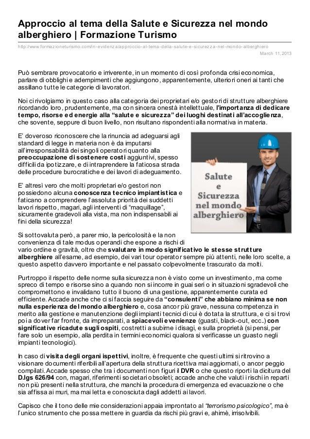 Approccio al tema della Salute e Sicurezza nel mondoalberghiero | Formazione Turismohttp://www.formaz ioneturismo.com/in- ...