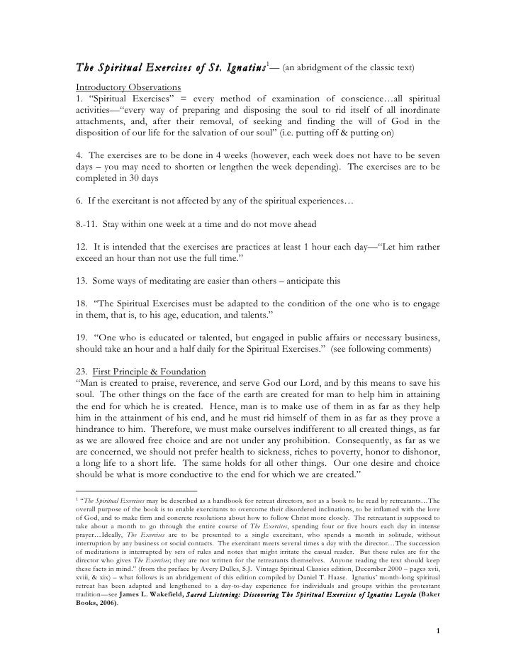 an abridgment of The Spiritual Exercises of St. Ignatius