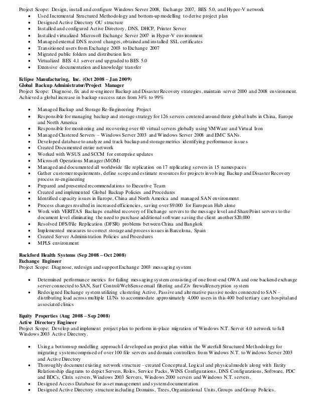 resume exchange administrator exchange server admin