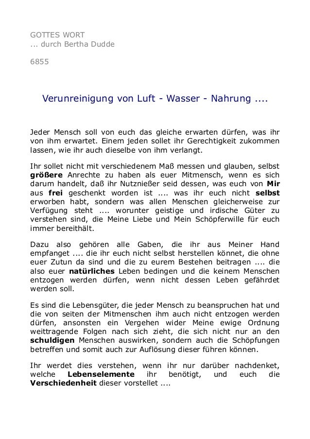 GOTTES WORT ... durch Bertha Dudde 6855 Verunreinigung von Luft - Wasser - Nahrung .... Jeder Mensch soll von euch das gle...