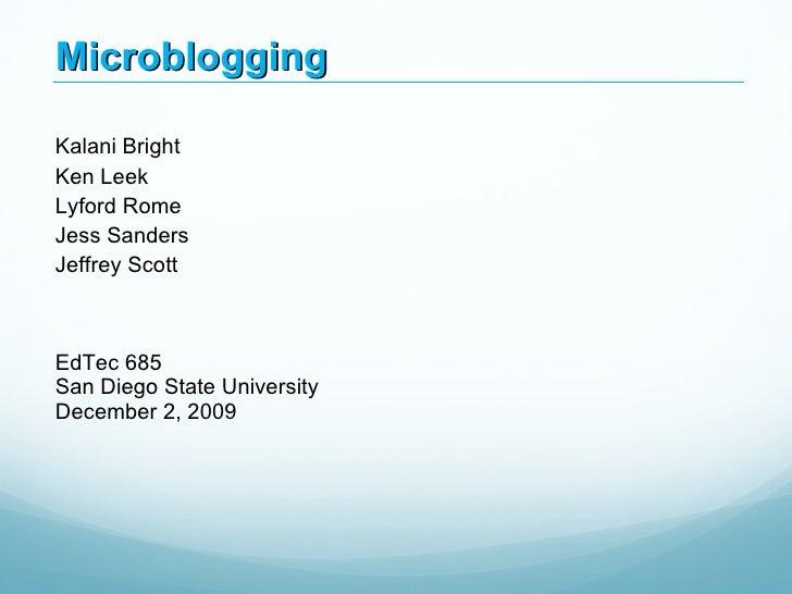 EdTec 685 - Microblogging