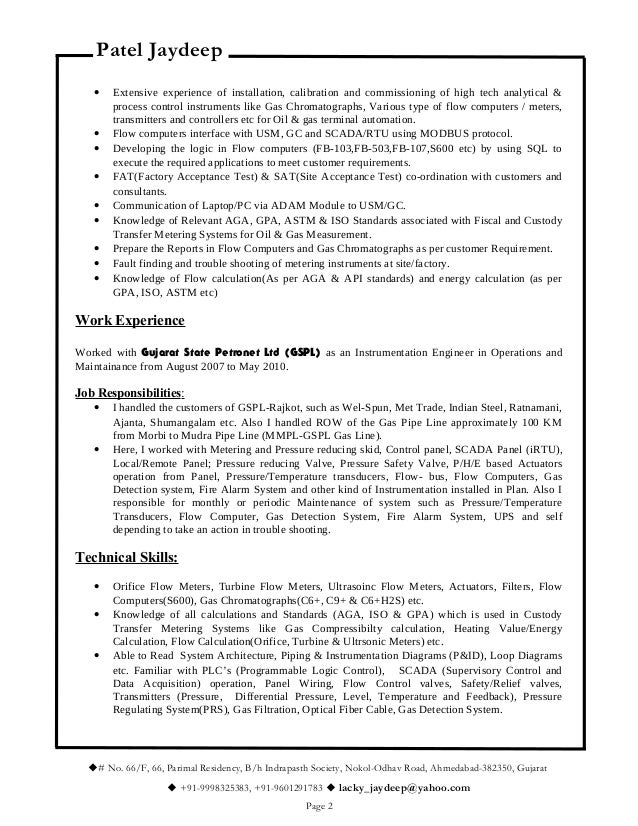 resume for metering or instrumentation engineer