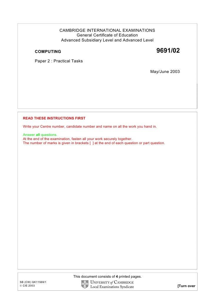 CAMBRIDGE INTERNATIONAL EXAMINATIONS                                 General Certificate of Education                     ...