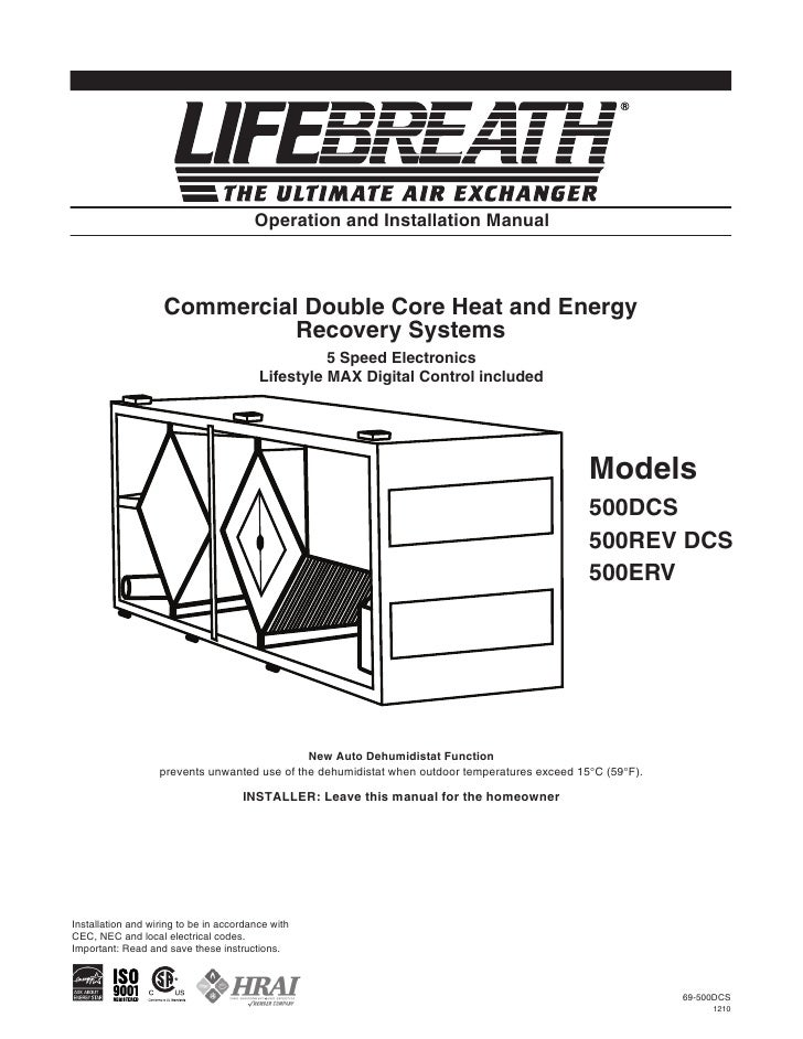 LifeBreath Operation & Installation Manual max series 500 erv