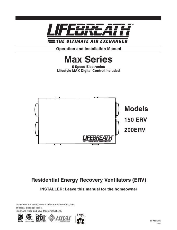 LifeBreath Operation & Installation Manual max series 150 - 200 erv