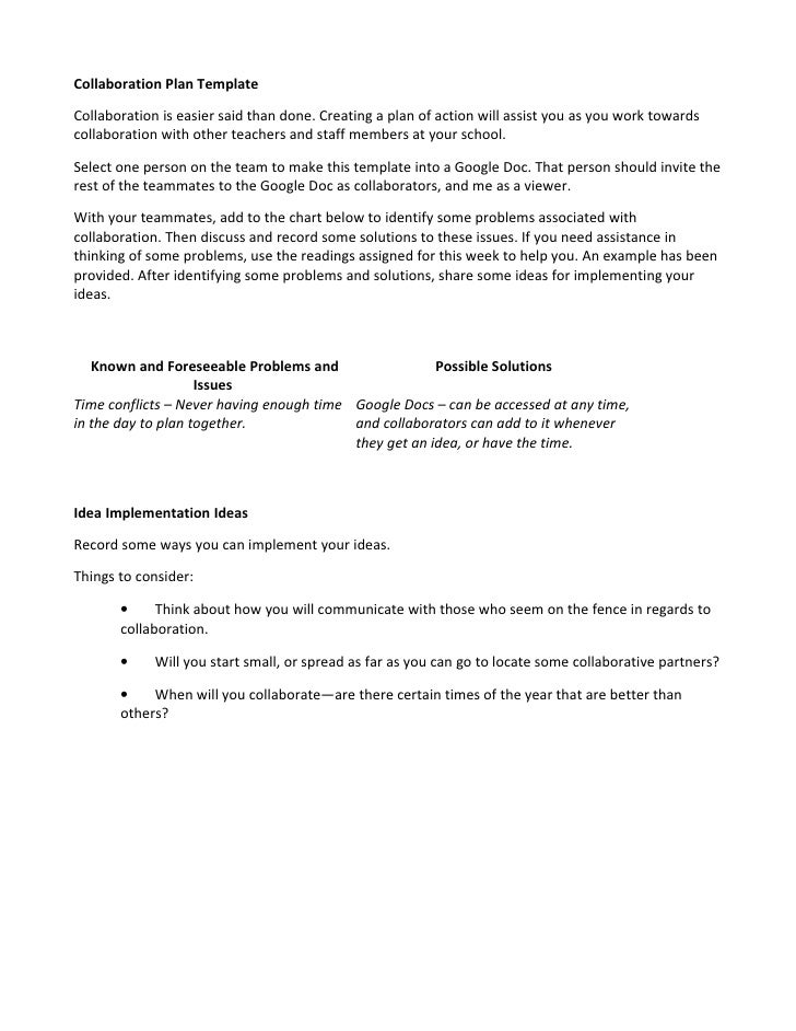 Collaborative Teaching Lesson Plan Template ~ Collaboration plan template