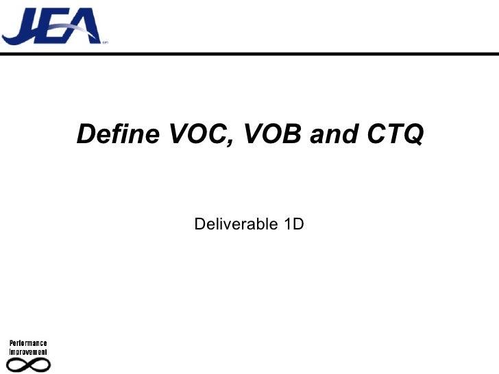 Define VOC, VOB and CTQ Deliverable 1D