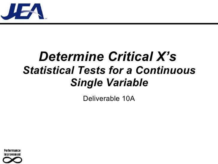 Determine Critical X's   Statistical Tests for a Continuous Single Variable Deliverable 10A