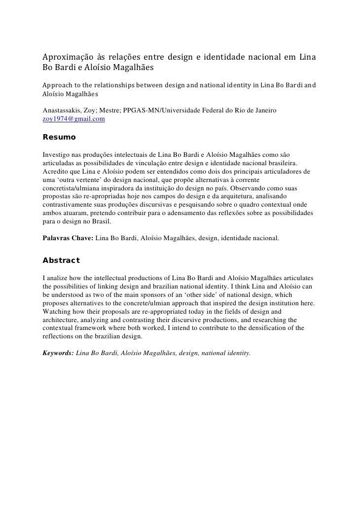 Aproximação às relações entre design e identidade nacional em LinaBo Bardi e Aloísio MagalhãesApproach to the relationship...