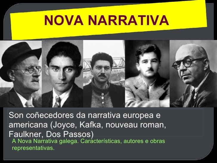 Son coñecedores da narrativa europea e americana (Joyce, Kafka, nouveau roman, Faulkner, Dos Passos) NOVA NARRATIVA  A Nov...
