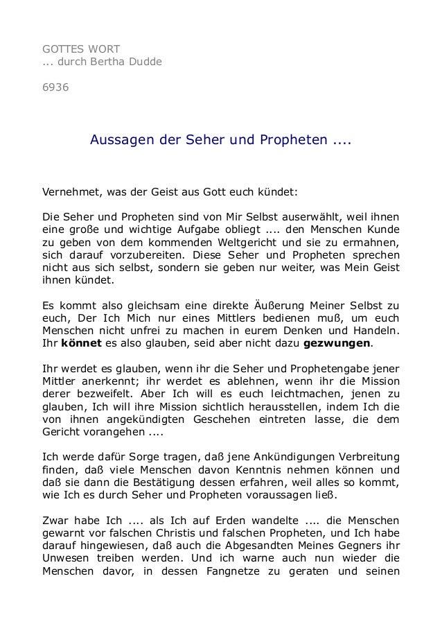 GOTTES WORT  ... durch Bertha Dudde  6936  Aussagen der Seher und Propheten ....  Vernehmet, was der Geist aus Gott euch k...