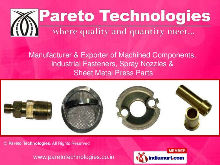 Manufacturer & Exporter of Machined Components,                 Industrial Fasteners, Spray Nozzles &                     ...