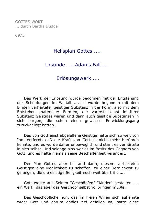 GOTTES WORT  ... durch Bertha Dudde  6973  Heilsplan Gottes ....  Ursünde .... Adams Fall ....  Erlösungswerk ....  Das We...