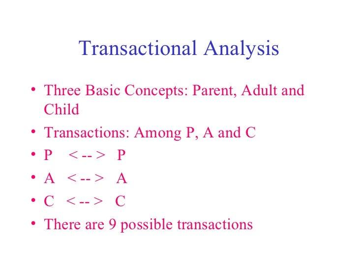 Transactional Analysis <ul><li>Three Basic Concepts: Parent, Adult and Child </li></ul><ul><li>Transactions: Among P, A an...