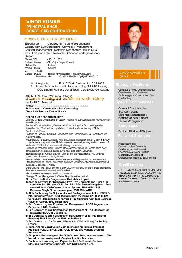 Page 1 of 4VINOD KUMARPRINCIPAL ENGR.CONST. SUB CONTRACTINGPERSONAL ...
