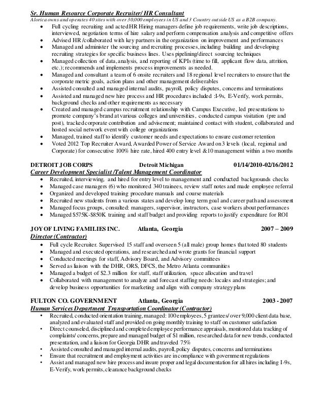 Staffing recruiter resume corporate recruiter