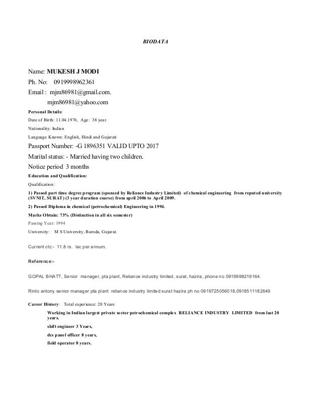 pta resume sample mukesh modi resume pta biodata template